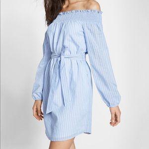 Express off shoulder striped dress